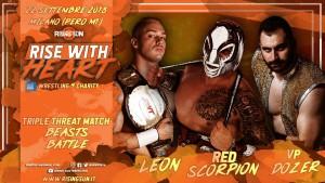 Nella foto, in alto: Red Scorpio vs VP Dozer vs Leon