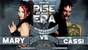 Nella foto, in alto: Mary Cooper vs Hardcore Cassi