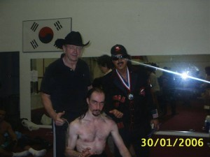 pictured, top: The Marquis with Maestro Dory Funk jr. and Jimmy Hart