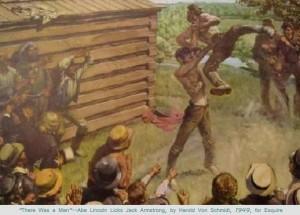 Nella foto, in alto: Abraham Lincoln ritratto in veste di wrestler in un disegno dell'epoca