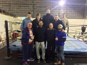 Nella foto, in alto: Fabio con Marty Jones (alla sua sinistra) e Johnny Saint (alla sua destra) con alcuni atleti italiani