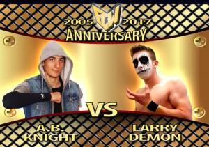 Nella foto, in alto: Larry Demon contro AB Knight