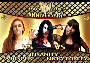 Ndella foto, in alto: Insanity contro Whisper contro Niky Foxley