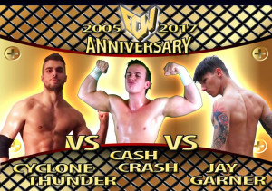 Nella foto, in alto: Cyclone Thunder contro Cash Crash contro Jay Garner