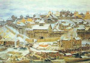 dipinto raffigurante il vecchio Cremlino con sostruzioni in legno