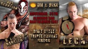 Nella foto, n alto: la locandina del triple threat match