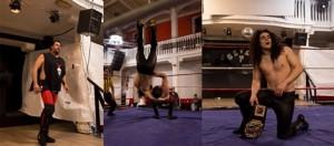 Nella foto, in alto: Violent Joe, un momento del match e Alex Gorgeous con la cintura