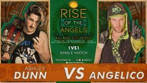 Nella foto, in alto: Ashley Dunn vs Angelico