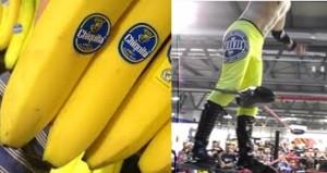 Nella foto, in alto: Trevis, travestito da banana