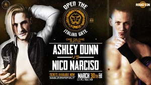 Nella foto, in alto: Ashley Dunn contro Nico Narciso