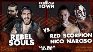 Nella foto, in alto: Rebel Souls vs Red Scorpion e Nico Narciso