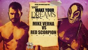 Nella foto, in alto: Mike Verna contro Red Scorpion