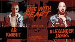 Nella foto, in alto: Alexander James vs AB Knight
