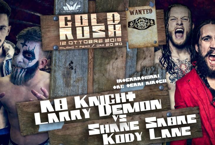 Nella foto, in alto: Shane Sabre e Cody Lane ontro AB Knight e Larry Demon