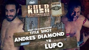 Nella foto, in alto: Andres Diamond contro Lupo