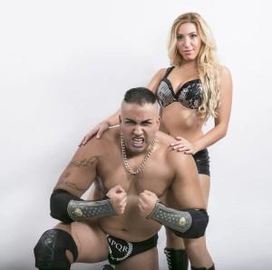 Nella foto, in alto: Karim Brigante con la compagna di ring e di vita miss Monica