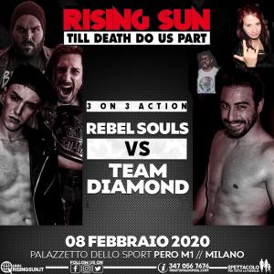 Nella foto, in alto: Rebel Souls contro Team Diamond