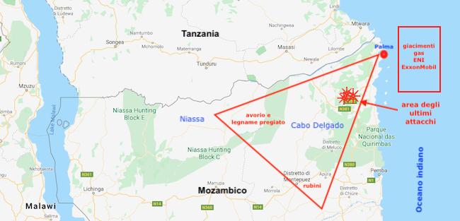 Mappa di Cabo Delgado con triangolo delle ricchezza per il contrabbando jihadista (Courtesy GoogleMaps)